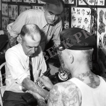 Vintage Black And White Cap Coleman Tattooing Poster Print