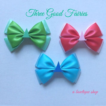 good fairies hair bow - pink, green, or blue