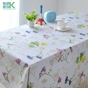 2016 Summer new Modern European style Pastoral cotton canvas table cloth tablecloths coffee table fresh flower vine drape round