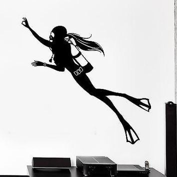 Wall Stcker Sport Scuba Diver Diving Girl Female Woman Vinyl Decal Unique Gift (z3047)