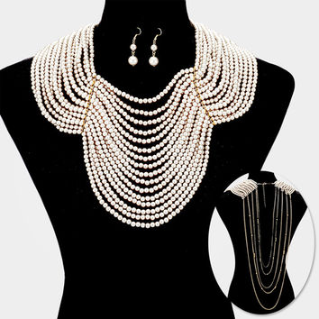 "18"" faux pearl choker bib collar back drop draped necklace 1.75"" earrings body chain swimsuit bikini jewelry"