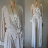 Deadstock White Jumpsuit White Pant Suit Off White Wedding Jumpsuit Formal Pant Suit Satin Jumpsuit Formal Jumpsuit Womens Jumpsuit 80s 90s
