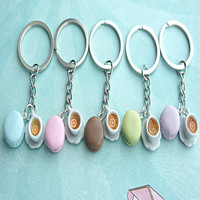 french macaron and tea keychain