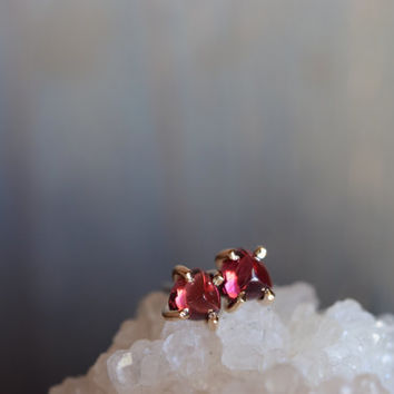 Tiny Garnet Studs. January Birthstone. Delicate Simple Everyday Earrings. Gold and Red. One of a kind Garnet Earrings. Tiny Stone Studs