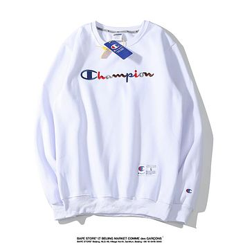 Champion Autumn And Winter New Fashion Bust Letter Print Women Men Hooded Long Sleeve Sweater White