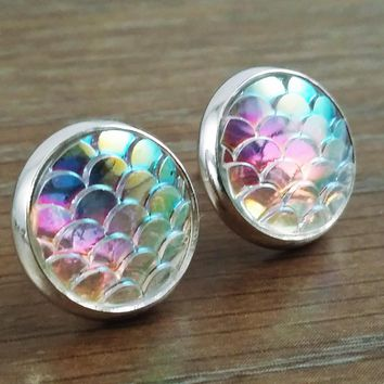 Mermaid Scales  Ab Rainbow Clear Mermaid/ Dragon Scale Earrings