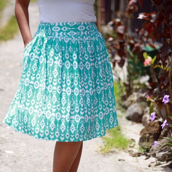 Women's Skirt / Mint Green Skirt / Summer Skirt / Midi Skirt in Green and White / Ikat Print Midi Skirt with Pockets / Elastic Waist Skirt