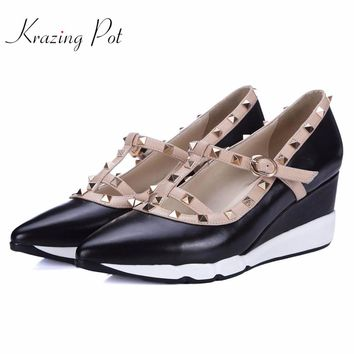 New Shoes women fashion pointed toe platform wedges rivets high heels buckle straps runway pumps brand wedding casual shoes L5f3