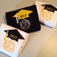 Great graduation gift 2015 senior shirt Cap Hat personalized monogram monogrammed embroidered appliqué T-shirt Shirt high school college Tee