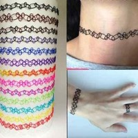 Buy Home Vintage Stretch Tattoo Choker Necklace Retro Henna Elastic 80s 90s (Black)