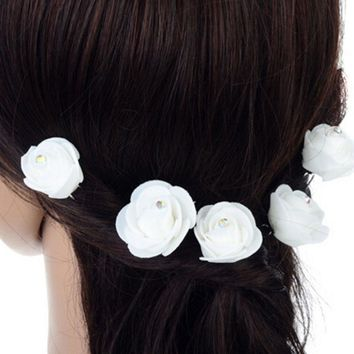 7 Styles Girls Barrettes Chiffon Tulle Chic Rose Flower Silk for Bridal Wedding Hair Comb Clip hair accessories