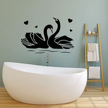 Vinyl Wall Decal Couple Swans Bedroom Love Romance Birds Stickers Mural (g1776)