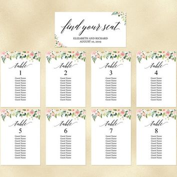 Floral seating chart template editable, Calligraphy blush peach hanging seating plan cards, Seating arrangement cards wedding, bridal shower