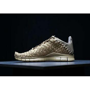 Nike Lab Free Inneva Woven Mid Trending Men Stylish Comfortable Sport Running Shoe Sneakers Brown I-AHXF