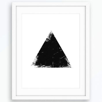 Triangle Print, Grunge Art, Minimalist Poster, Wall Art, Black and White Print, Modern Art, Scandinavian Modern, Art Prints, Printable Art