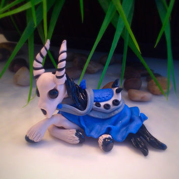 Blue Deathcharger Undead Horse World of Warcraft WoW inspired Figurine Fan art miniature terrarium / decor / accent polymer clay