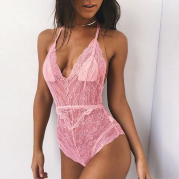 Hot sale fashion sexy lace hollow show thin V neck underwear one piece pink