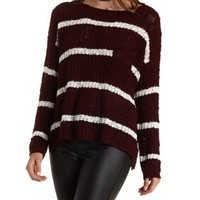 Burgundy Cmb Striped Pullover Sweater with Pocket by Charlotte Russe