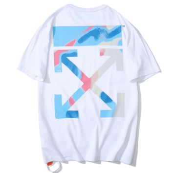 Off White New fashion gradient cross arrow print couple top t-shirt White