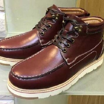 ESBON Ready Stock Ugg Short Boots Beckham Leather Red Brown From Artemisoutlet