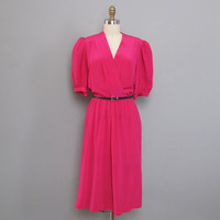 vintage HOT PINK silk dress L