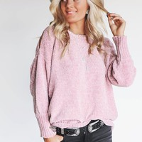 Holding You Dusty Mauve Chenille Cold Shoulder Sweater