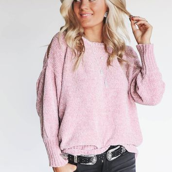 Holding You Mauve Chenille Sweater