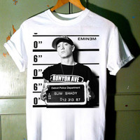Popular Funny Shirt Eminem Mugshot Screen print T shirt by Sumitoh