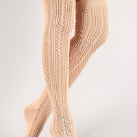 Solid Woven Knit Thigh High Socks
