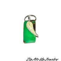 Green Zipper Pull, Zipper Pull With Angel Wing, Green Stone Purse Charm, Bag Charms