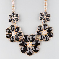Full Tilt Facet Flower Statement Necklace Black One Size For Women 22842510001