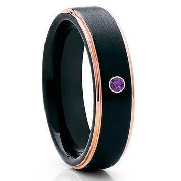 Amethyst Tungsten Ring - Black Tungsten Wedding Band - Rose Gold - Brush