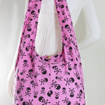 USA SHIPPING*** Pink Skull Goth Punk Crossbody Shoulder Hippie Boho Hobo Messenger Bag Purse