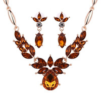 Brown Colored Gemstone Water Drop Necklace and Earrings