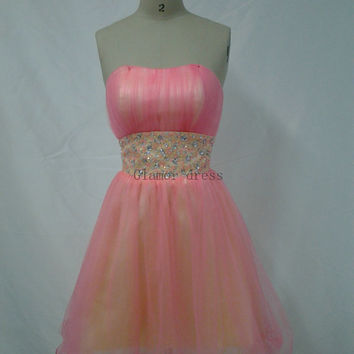 pink organza strapless homecoming dress    cheap short gowns for homecoming prom    cute modern party dress hot