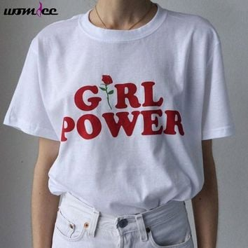 Womdee Cotton T-shirt Women Girl Power Rose T Shirt Women Tops Casual Letter Print Feminism Tee Shirt Femme black White Gray