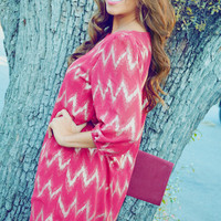 EVERLY: Chevron Shimmer Tunic/Red   Hope's