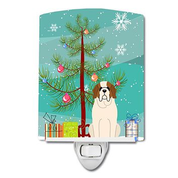 Merry Christmas Tree Saint Bernard Ceramic Night Light BB4160CNL