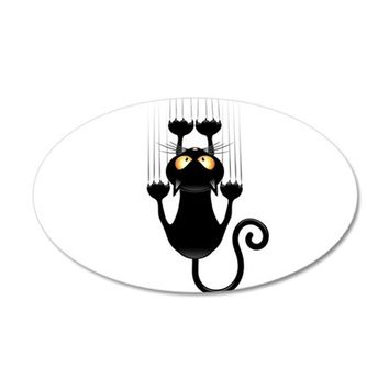 BLACK CAT CARTOON SCRATCHING WALL WALL DECAL