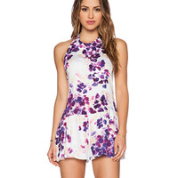 White Floral Print Halter Sleeveless Backless Mini Dress