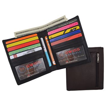 Swiss Marshall RFID Men's Slim Bifold Hipster Premium Leather Euro Wallet