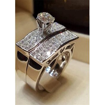 Classic Promise Ring sets 925 Sterling silver Princess cut AAAAA Cz Engagement wedding band rings for women men Jewelry Gift