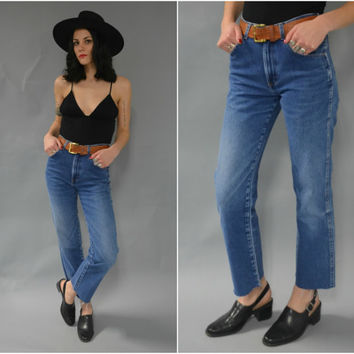 Vintage high waisted distressed frayed cut off jeans