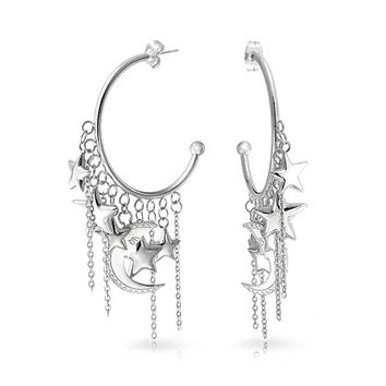 Trendy Moon Stars Dangling Charm Crescent Large Hoop Stud Earrings