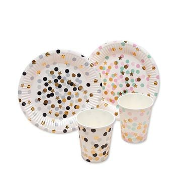 10pcs Gold Star Colorful Dot Paper Disposable Plates Cups Wedding Supplies Foild Bronzing Birthday Party Decoration Accessories