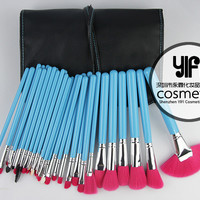 Blue & Pink Wood handle Facial Makeup Brushes Kit with  PU Leather Case