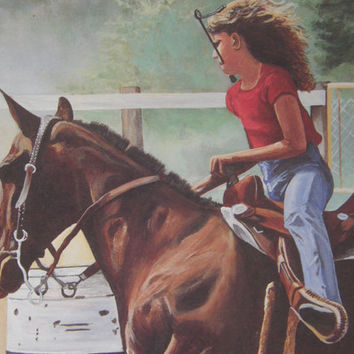 On Sale Collectible Signed Artist Proof Young Girl Barrel Racing an Appaloosa Limited Quantity by Greg Hammer of Tennessee