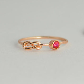14k Rose Gold Ruby Infinity Ring, 14k Rose Gold, Stackable Rings, Mothers Ring, July Birthstone, Rose Gold Infinity Ring,Rose Gold Knot Ring