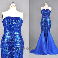 Custom Royal BLue Sequins Lace Mermaid Long Prom Dresses Fashion Evening Gowns Evening Dresses Party Dress Celebrity Dress Cocktail Dress