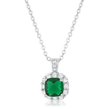Emerald Halo Necklace - Rhodium Plated Necklace With Emerald Colored CZ Stone